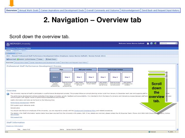 2. Navigation – Overview tab