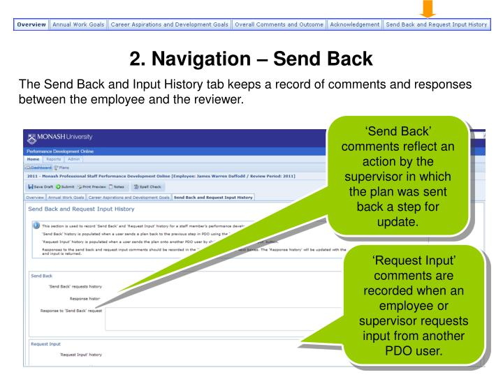 2. Navigation – Send Back