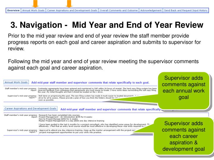 3. Navigation -  Mid Year and End of Year Review
