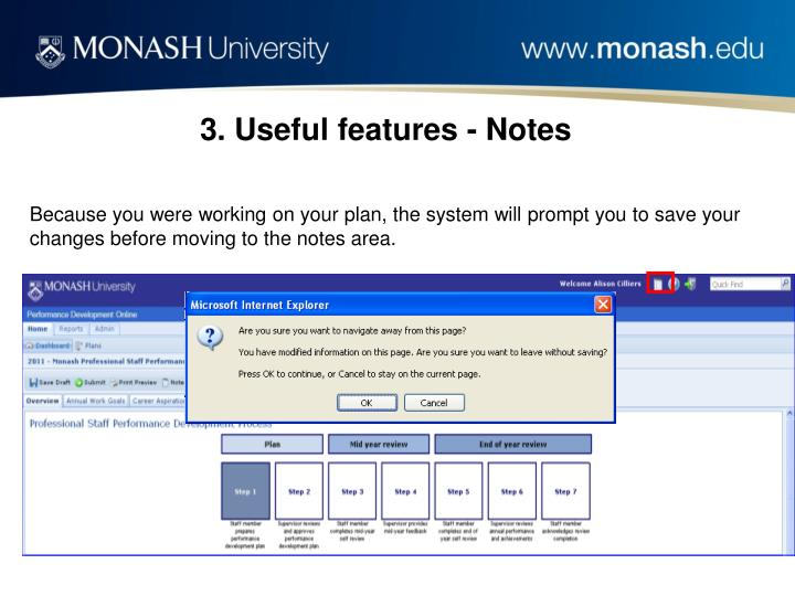 3. Useful features - Notes