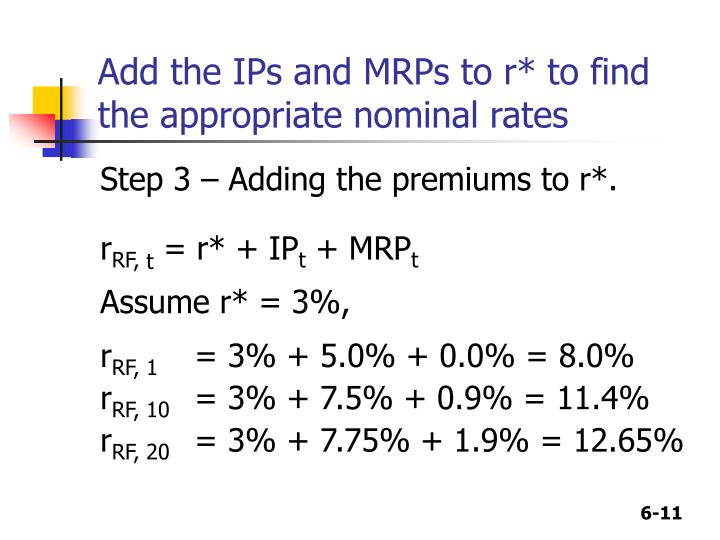 Add the IPs and MRPs to r* to find the appropriate nominal rates