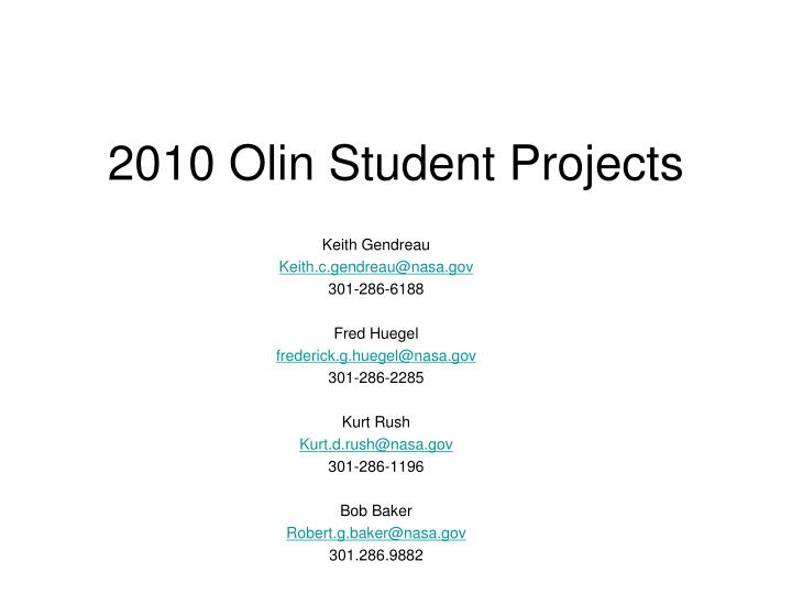 2010 olin student projects n.