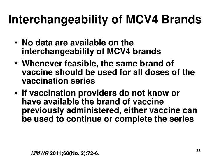 Interchangeability of MCV4 Brands