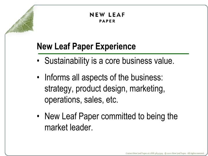 New leaf paper experience
