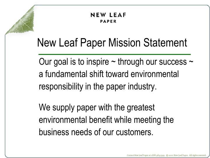 New Leaf Paper Mission Statement