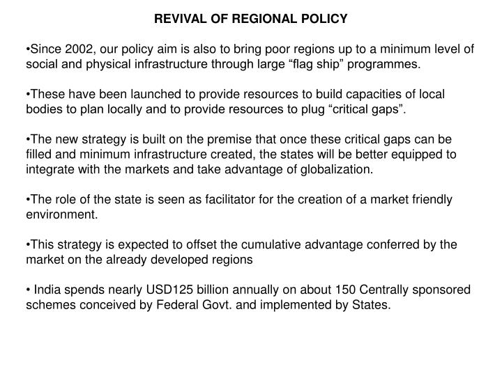 REVIVAL OF REGIONAL POLICY