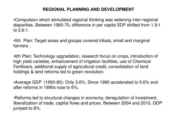 REGIONAL PLANNING AND DEVELOPMENT
