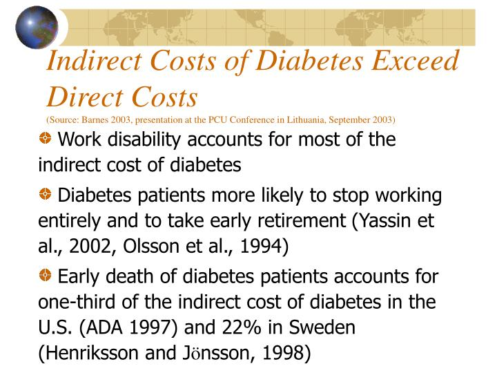 Indirect Costs of Diabetes Exceed Direct Costs