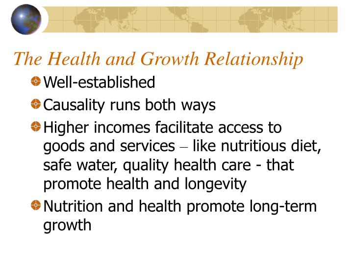 The health and growth relationship