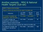 another example mdg national health targets sub set