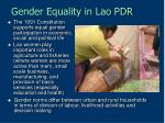 gender equality in lao pdr