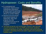hydropower costs and benefits