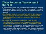 water resources management in the mrb