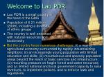 welcome to lao pdr