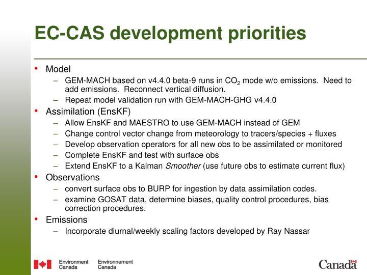 EC-CAS development priorities