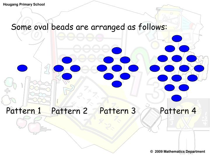 Some oval beads are arranged as follows: