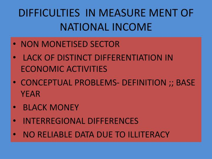 DIFFICULTIES  IN MEASURE MENT OF NATIONAL INCOME