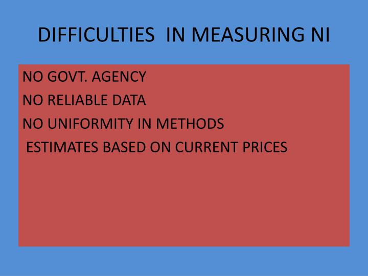 DIFFICULTIES  IN MEASURING NI