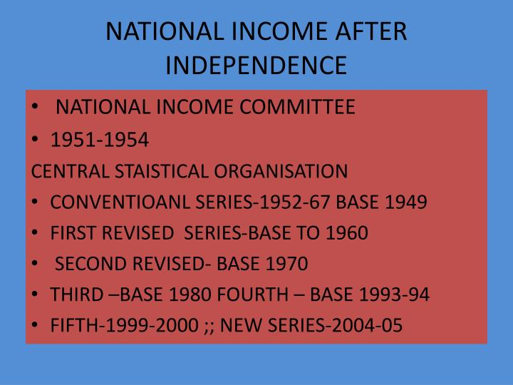 NATIONAL INCOME AFTER INDEPENDENCE