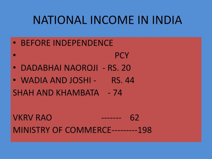 National income in india