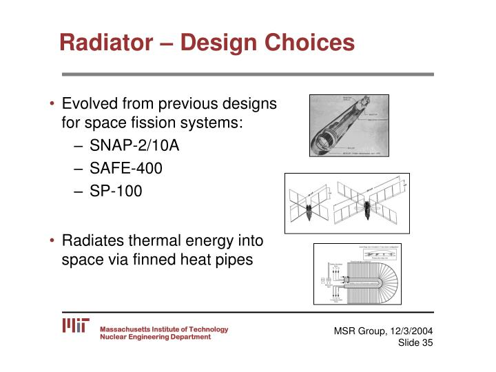 Radiator – Design Choices