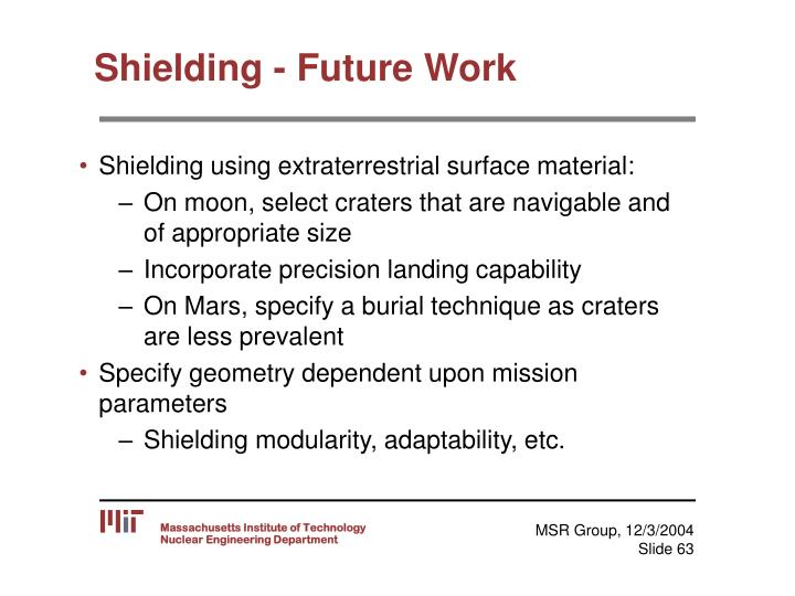 Shielding - Future Work