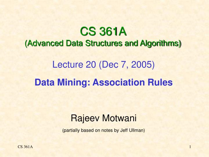 cs 361a advanced data structures and algorithms n.