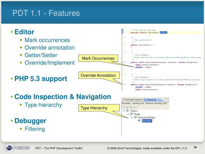 PDT 1.1 - Features