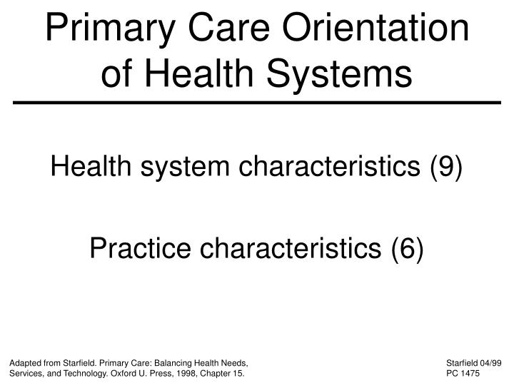 Primary Care Orientation of Health Systems