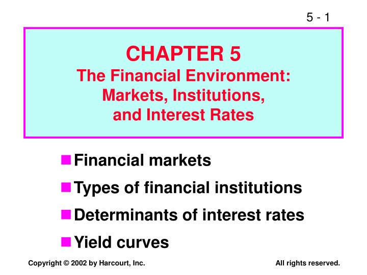 chapter 5 the financial environment markets institutions and interest rates n.