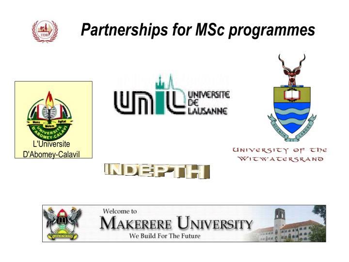 Partnerships for MSc programmes