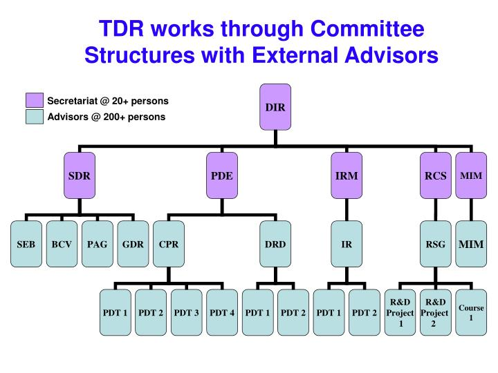 TDR works through Committee Structures with External Advisors