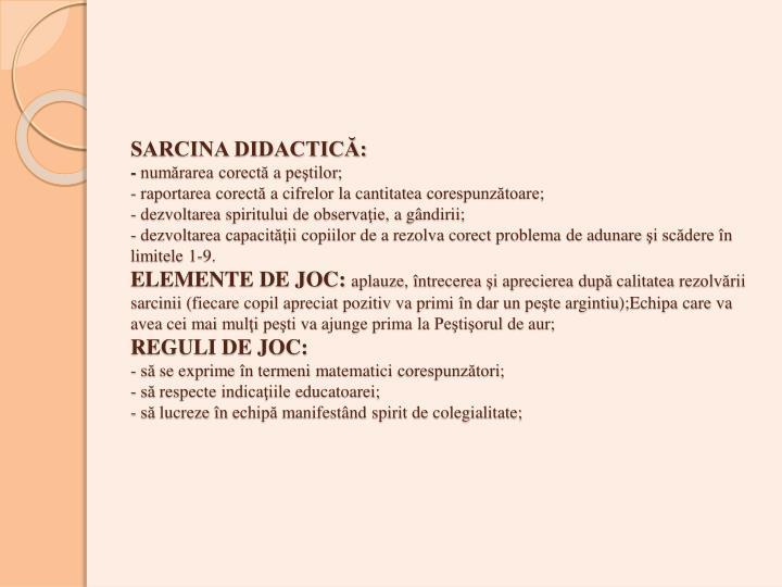 SARCINA DIDACTICĂ: