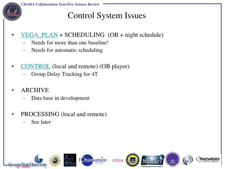 Control System Issues
