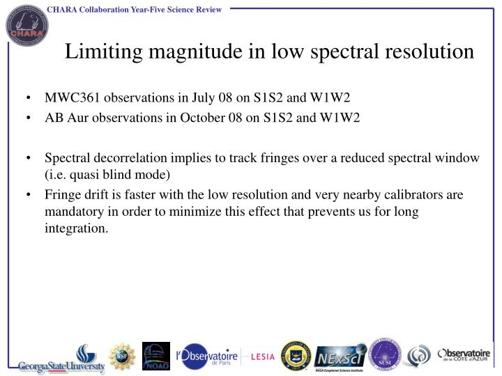 Limiting magnitude in low spectral resolution