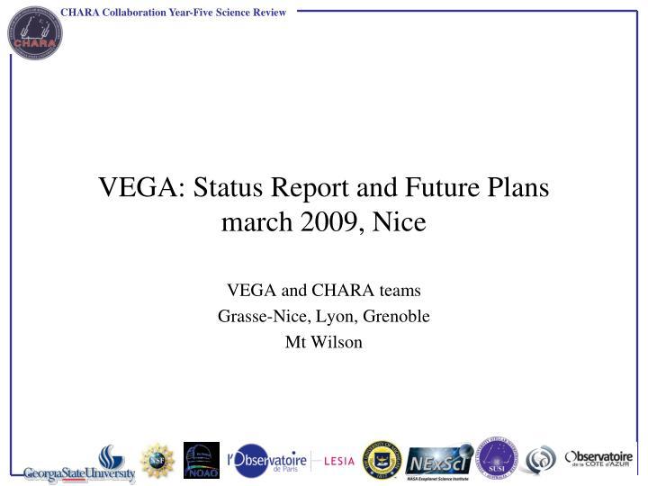 Vega status report and future plans march 2009 nice