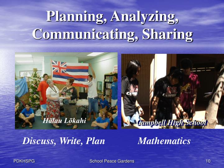 Planning, Analyzing, Communicating, Sharing