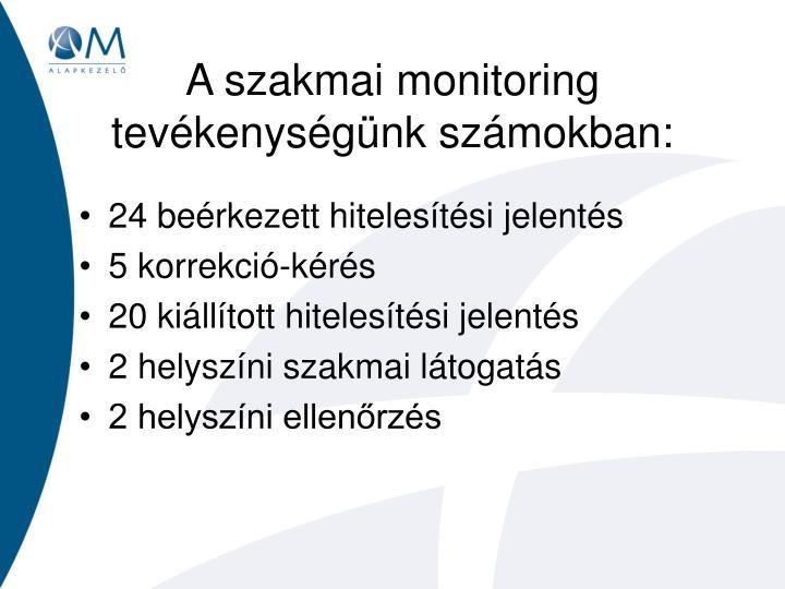 A szakmai monitoring tevékenységünk számokban: