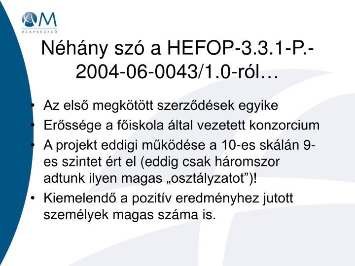 Néhány szó a HEFOP-3.3.1-P.-2004-06-0043/1.0-ról…