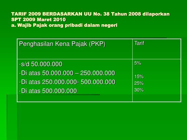 TARIF 2009 BERDASARKAN UU No. 38 Tahun 2008 dilaporkan SPT 2009 Maret 2010