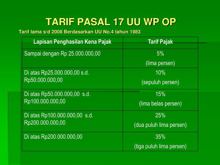 TARIF PASAL 17 UU WP OP