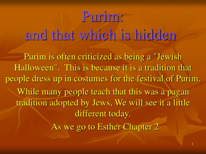 Purim and that which is hidden