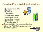 possible prohibited jobs industries