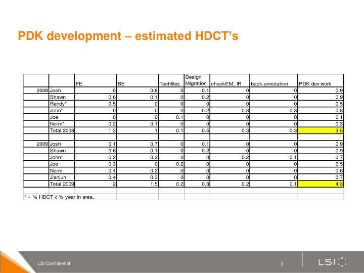Pdk development estimated hdct s