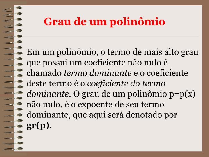Grau de um polinômio