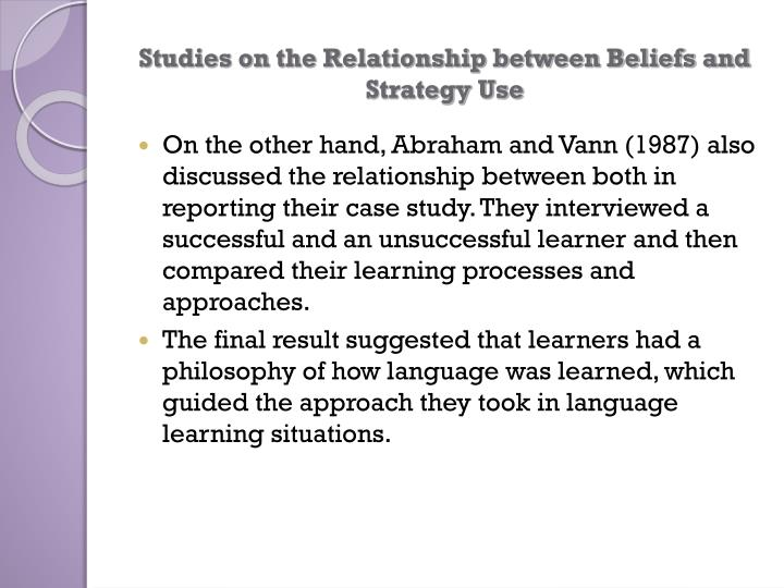 Studies on the Relationship between Beliefs and Strategy Use