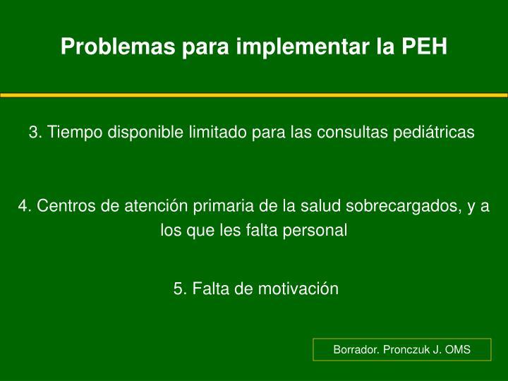 Problemas para implementar la PEH