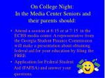 on college night in the media center seniors and their parents should