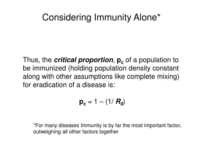Considering Immunity Alone*