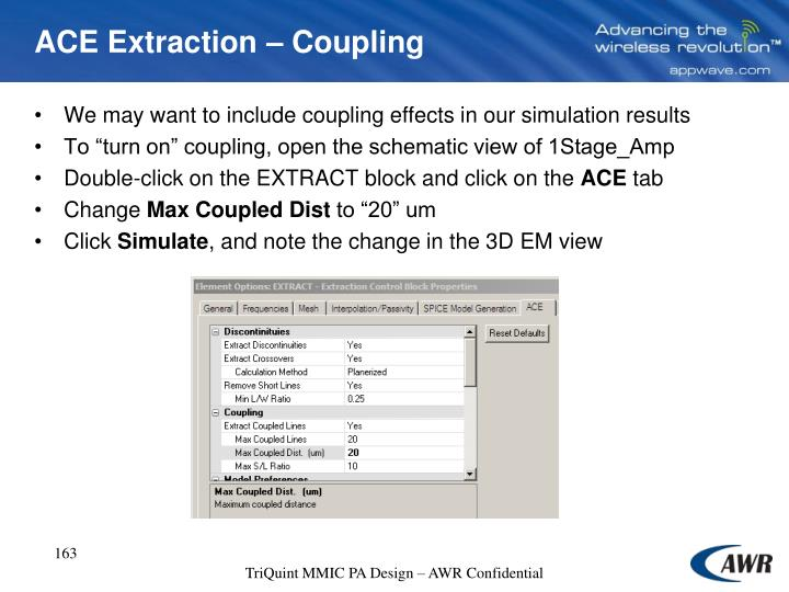 ACE Extraction – Coupling